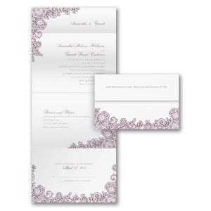 A Little Lace in White Seal 'n Send Wedding Invitation Icon