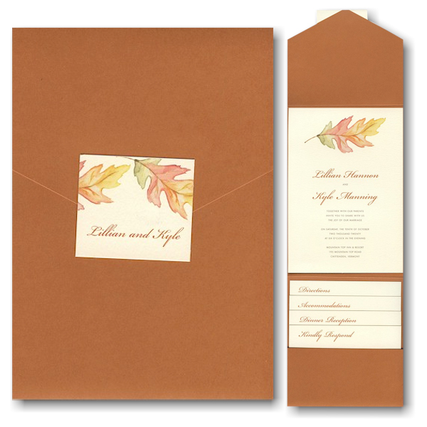 A Painted Leaf Pocket Wedding Invitation Icon