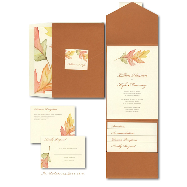 A Painted Leaf Pocket Wedding Invitation