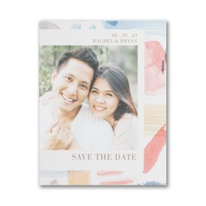 Colorful Brush Strokes Small Save the Date Card Icon