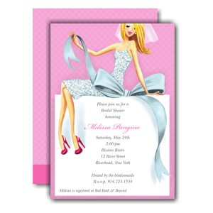 Beautiful Bride with Bow Blonde Invitation Icon