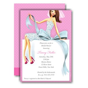 Beautiful Bride with Bow Brunette Invitation Icon