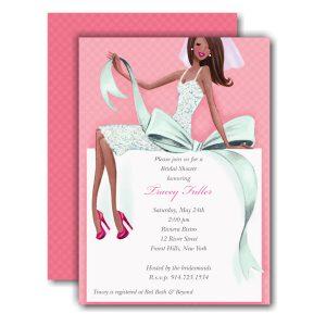 Beautiful Bride with Bow Multi Shower Invitation Icon
