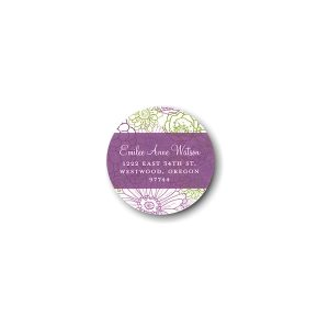 Beautiful Floral Squares Photo Return Address Sticker