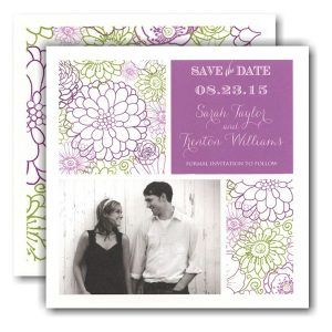 Beautiful Floral Squares Photo Save the Date Card
