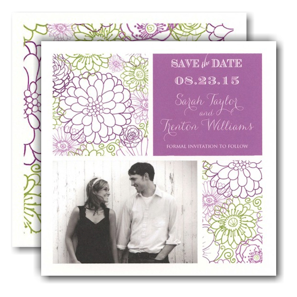 Beautiful Floral Squares Photo Save the Date Card Icon