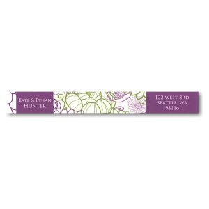 Beautiful Floral Squares Photo Skinny Address Label