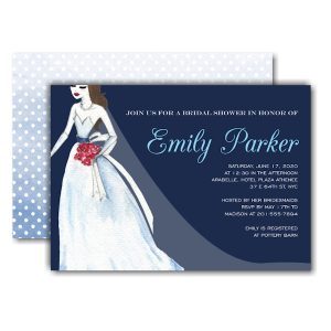Belle Dress Navy Bridal Shower Invitation Icon