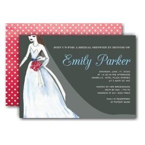 Belle Dress Slate Bridal Shower Invitation Icon