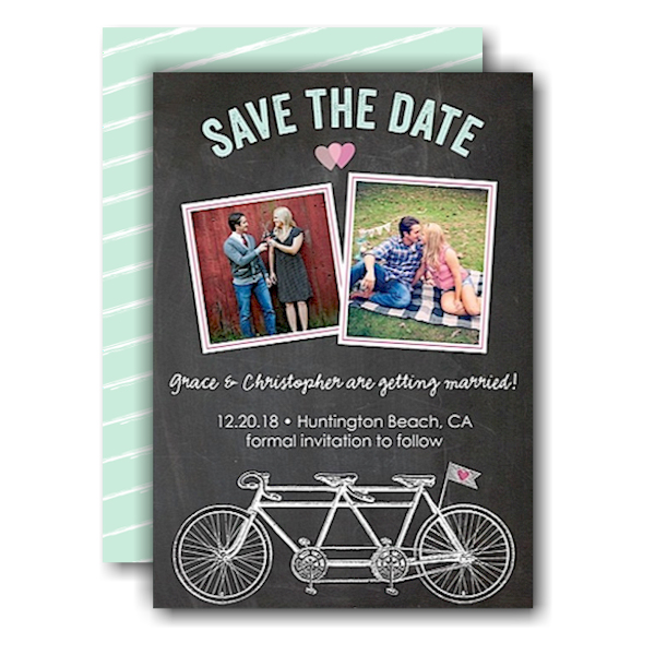 Bicycles Chalkboard Save the Date Card