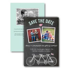 Bicycles Chalkboard Text Save the Date Card