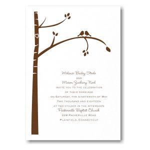 Birch Tree Love in White Wedding Invitation Icon