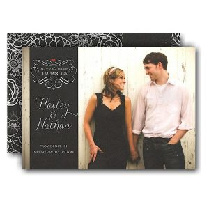 Black Band Design Scroll Photo Save the Date Card