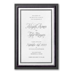 Black Bordered Elegance in White Wedding Invitation Icon