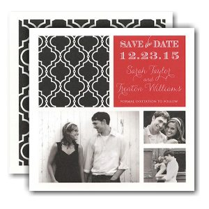 Black Classic Pattern Red Photo Save the Date Card