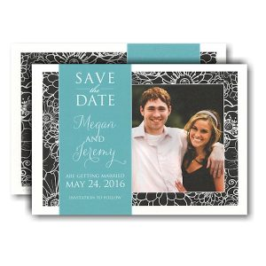 Black Elegant with Band Photo Save the Date Card Icon