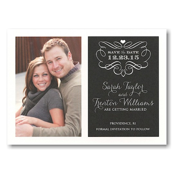Black Filigree Story Save the Date Postcard Icon