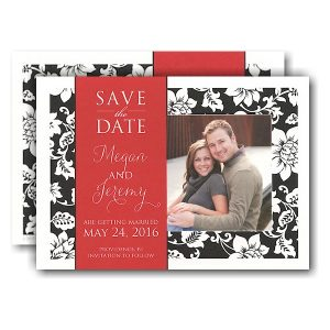 Black Pattern Red Band Photo Save the Date Card Icon