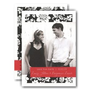 Black Pattern Red Tag Photo Save the Date Card Icon