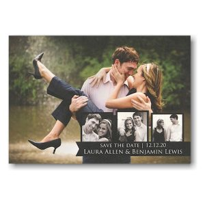 Black Tag Trio Overlay Photo Save the Date Card Icon