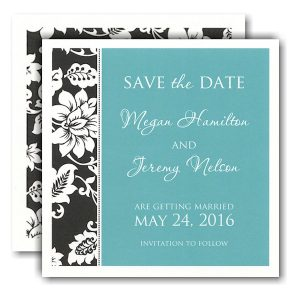 Black Vine Border Save the Date Card Icon