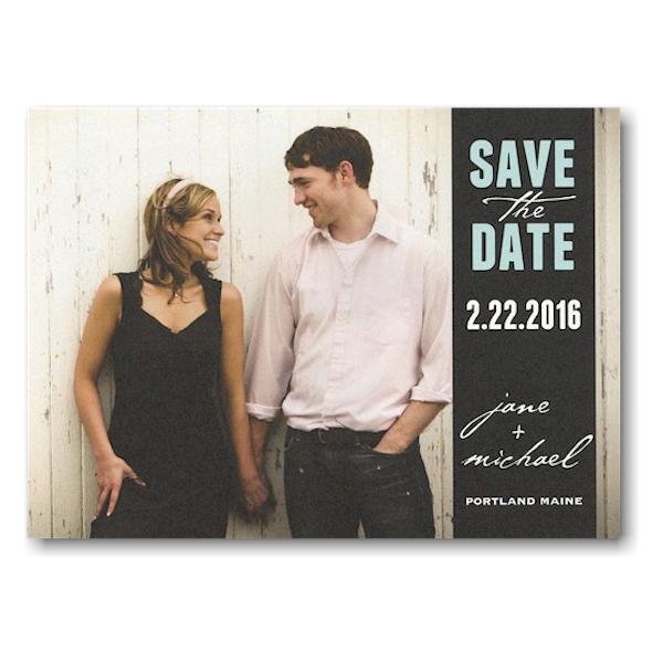 Black Wrap Tag Save the Date Postcard