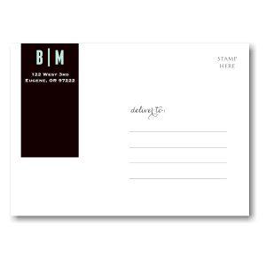 Black Wrap Tag Save the Date Postcard alt