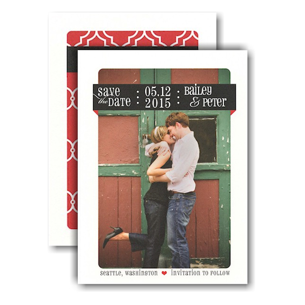 Black and Red Ribbon Band Photo Save the Date Card