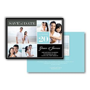 Block Blue Text Save the Date Card Icon