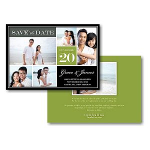Block Green Text Save the Date Card Icon