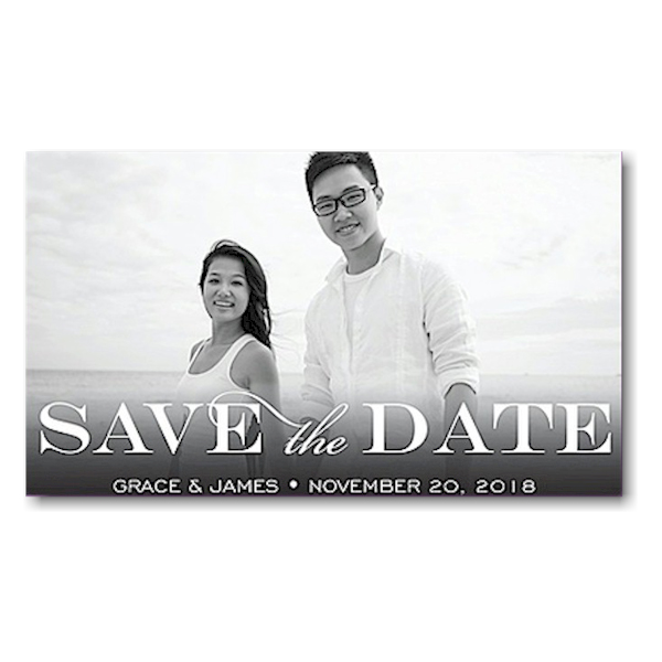 Block Purple Save the Date Magnet