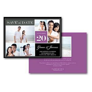 Block Purple Text Save the Date Card Icon