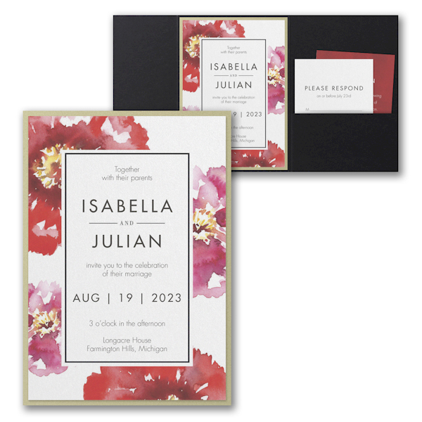 Bloom Bright Layered Pocket Wedding Invitation