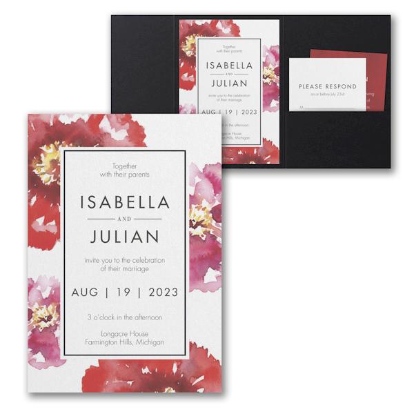 Bloom Bright Pocket Wedding Invitation