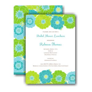 Blue & Green Floral Bridal Shower Invitation Icon