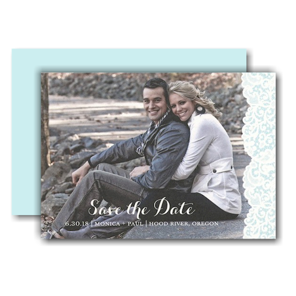Blue Lace Photo Save the Date Card
