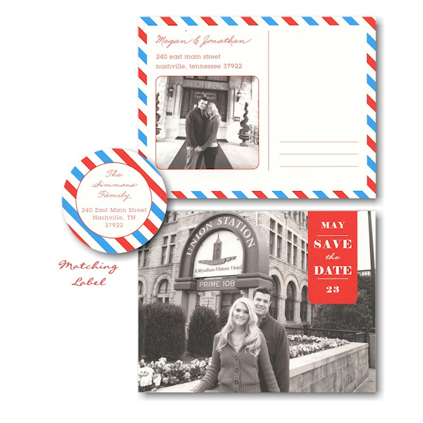 Blue & Red Postcard Photo Save the Date Card