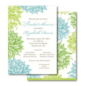 Blue and Green Flower Bridal Shower Invitation Icon