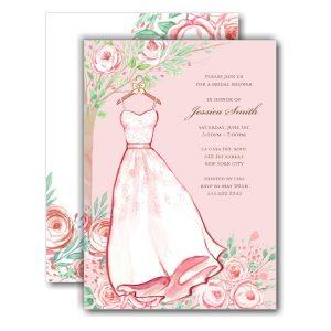 Blush Rose Dress Bridal Shower Invitation Icon