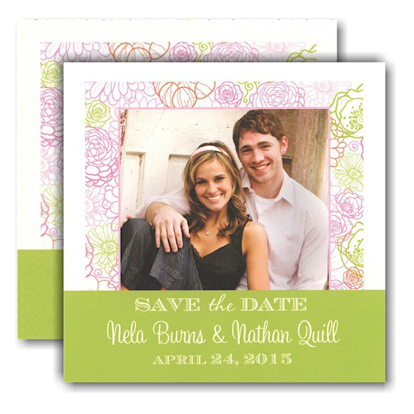 Blush of Color Photo Save the Date Card