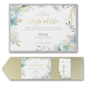 Botanic Beauty Layered Pocket Wedding Invitation