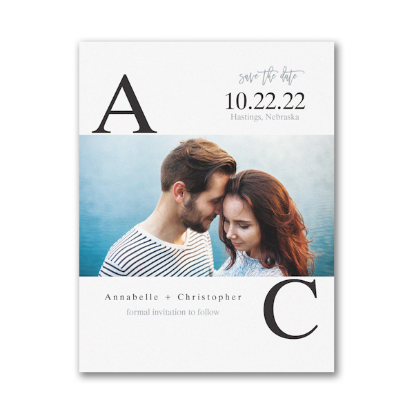 Broad Initials Small Save the Date Card