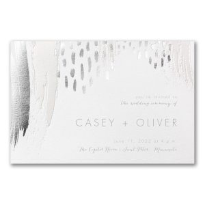 Brushstroke Beauty in White Wedding Invitation Icon