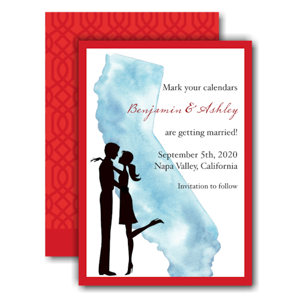 California Couple Save the Date Card