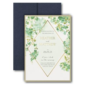 Cascading Vine Layered Pocket Wedding Invitation Icon