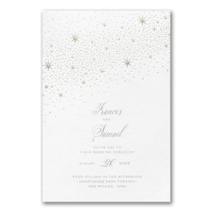 Celestial Inspiration on White Wedding Invitation