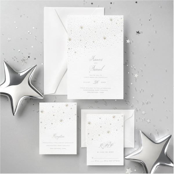 Celestial Inspiration on White Wedding Invitation alt