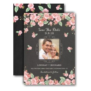 Chalkboard Floral Photo Save the Date Card