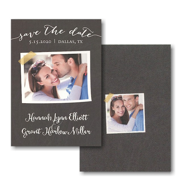 Chalkboard Tape Photo Save the Date Card