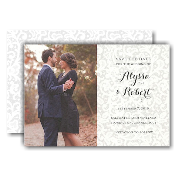 Chantilly Lace Photo Save the Date Card